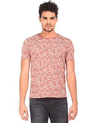 Flying Machine Floral Printed Heathered T-Shirt
