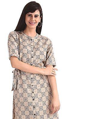 Bronz Beige Mandarin Collar Printed Midi Dress