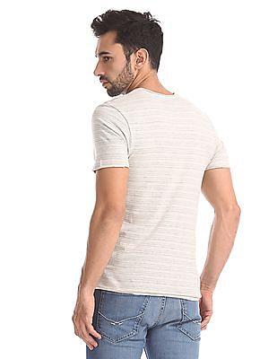 Flying Machine Slim Fit Striped T-Shirt