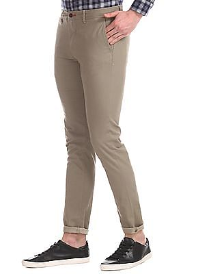 Arrow Sports Brown Slim Fit Patterned Trousers