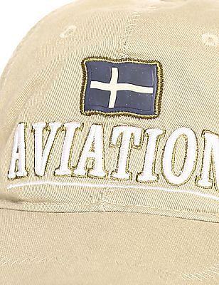 Flying Machine Beige Embroidered Twill Cap