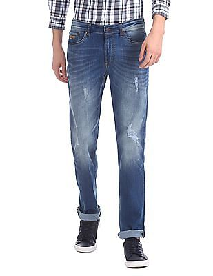 Aeropostale Slim Straight Fit Distressed Jeans
