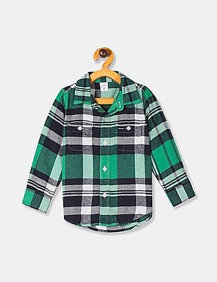 GAP Baby Boy Green Long Sleeve Plaid Shirt