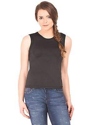 Flying Machine Women Mesh Panel Tank Top