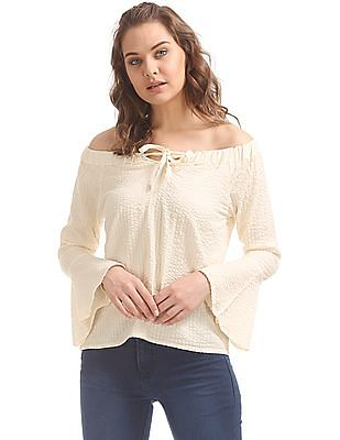 f680676369e Buy Women Solid Smocked Off-Shoulder Top online at NNNOW.com