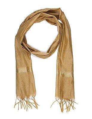 Anahi Gold Patterned Weave Tasselled Hem Dupatta