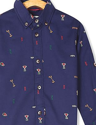 U.S. Polo Assn. Kids Blue Boys Button Down Collar Printed Shirt