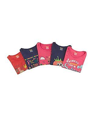 Donuts Printed Cotton T-Shirt - Pack Of 5