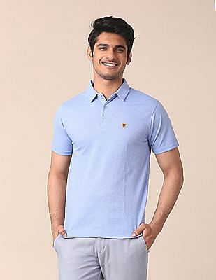 True Blue Slim Fit Printed Polo Shirt