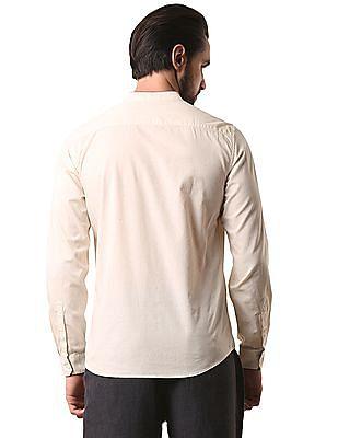 True Blue Speckled Mandarin Collar Shirt