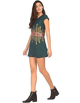 Bronz Printed Shift Dress