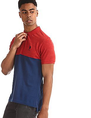 U.S. Polo Assn. Red Slim Fit Colour Block Polo Shirt
