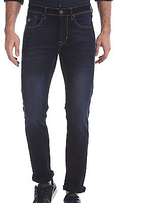 Flying Machine Blue Michael Slim Tapered Fit Cotton Stretch Jeans