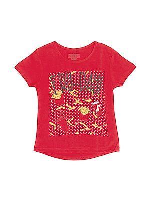 Cherokee Girls Printed Front High Low Hem T-Shirt