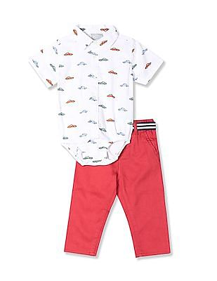 The Children's Place Baby Boys Assorted Short Sleeve Bodysuit And Belted Pants Set