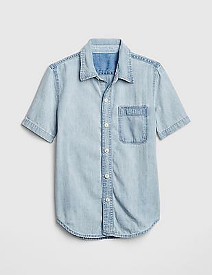 GAP Boys Denim Short Sleeve Shirt