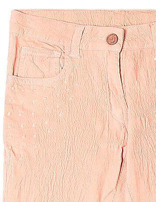 Cherokee Pink Girls Embellished Corduroy Capris