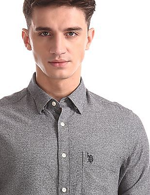 U.S. Polo Assn. Grey Concealed Button Down Collar Patterned Shirt