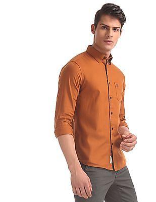 U.S. Polo Assn. Orange Tailored Regular Fit Solid Shirt
