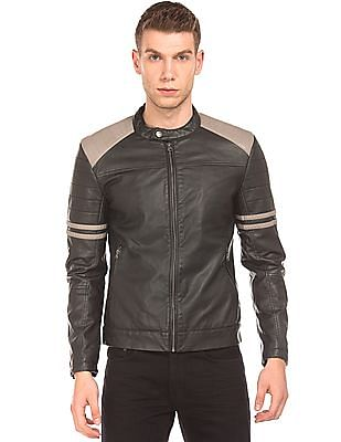 Flying Machine Colour Block Biker Jacket