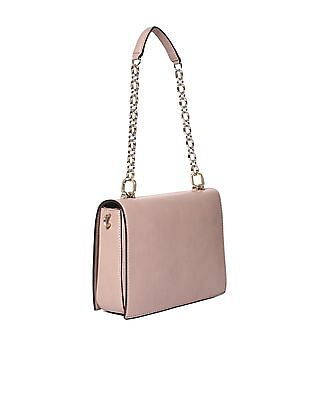 GUESS Linked Chain Metallic Branding Shoulder Bag