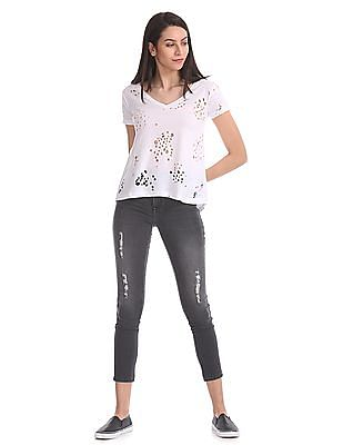 Aeropostale Destructed Regular Fit T-Shirt