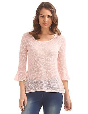 Cherokee Bell Sleeve Patterned Top
