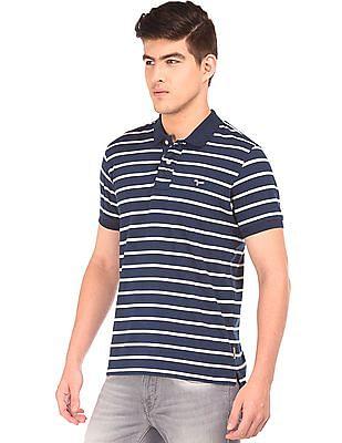 Flying Machine Striped Cotton Jersey Polo Shirt