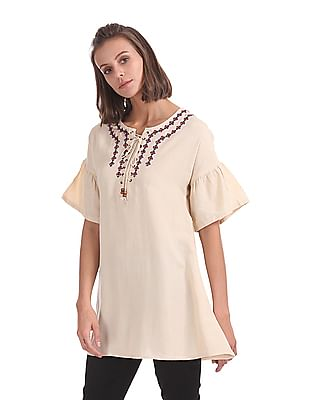 Bronz Lace Up Front Embroidered Tunic