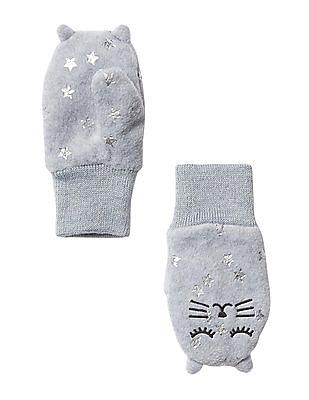 GAP Baby White Pro Fleece Cat Mittens