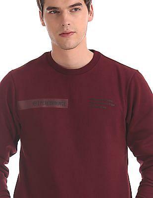Flying Machine Red Crew Neck Solid Sweatshirt