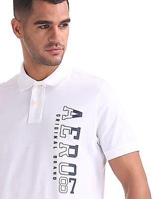 Aeropostale Brand Print Cotton Polo Shirt
