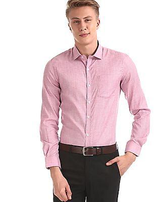 Excalibur Pink Semi Cutaway Collar Vertical Stripe Shirt