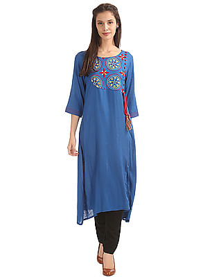 Anahi Embroidered Overlay Round Neck Kurta