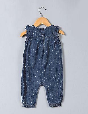 GAP Baby Blue Short Denim Ruffle Sleeve One Piece