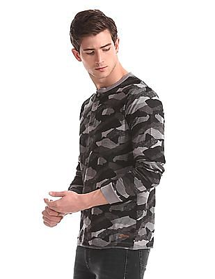 Cherokee Grey Long Sleeve Camo Print Henley T-Shirt