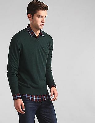 GAP Men Green Mainstay V-Neck Sweater