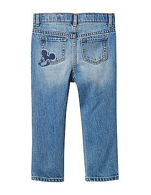 GAP Baby Blue Disney Mickey Mouse Embroidered Rip And Repair Girlfriend Jeans