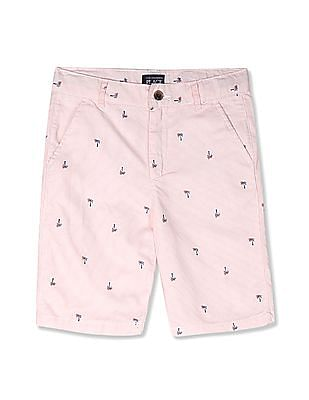 The Children's Place Pink Boys Striped Palm Print Woven Chino Shorts