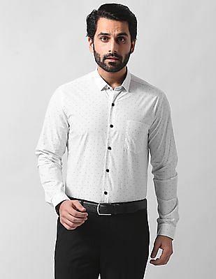 True Blue Slim Fit Patterned Shirt