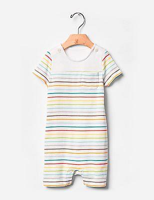 GAP Baby White Rainbow Stripe Shortie One-Piece