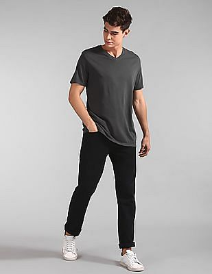 GAP Black Vintage Wash V-Neck T-Shirt
