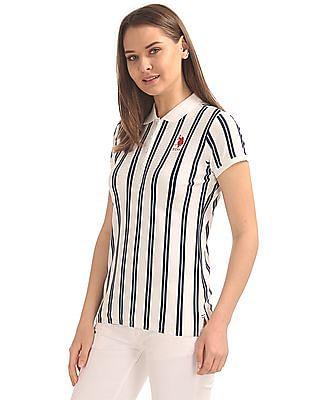 U.S. Polo Assn. Women Regular Fit Striped Polo Shirt