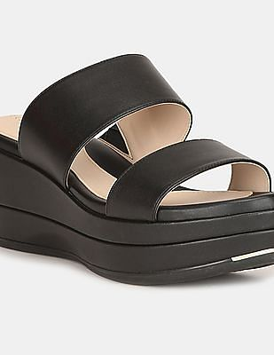 Cole Haan Women Black Grand Ambition Flatform Wedge Slides