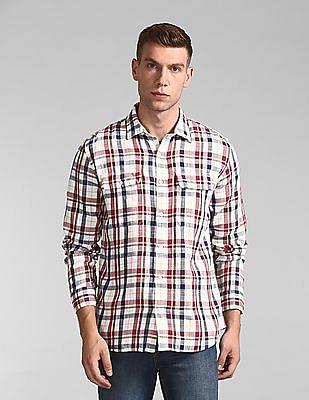 GAP Plaid Work Shirt In Slub Cotton