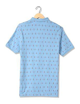 Bayisland Anchor Print Pique Polo Shirt