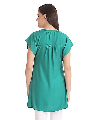 Bronz Embroidered Neck Flared Tunic