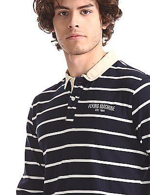 Flying Machine Blue Regular Fit Stripe Polo Shirt