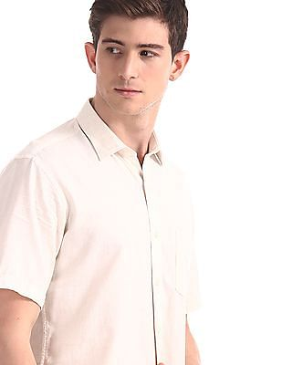 Arrow Sports White Regular Fit Solid Shirt
