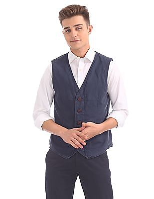 U.S. Polo Assn. Denim Co. Regular Fit Solid Waistcoat